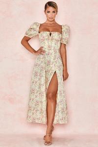 Tallulah Lemon Floral Puff Sleeve Midi Sundress