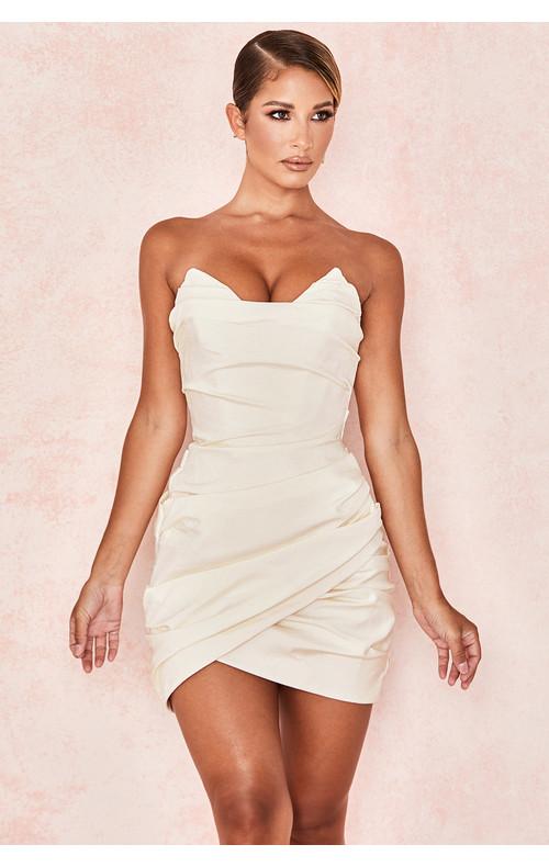 Emanuela Ivory Draped Ruched Mini Dress
