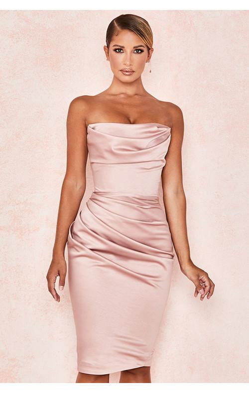 Emilia Blush Satin Strapless Corset Dress