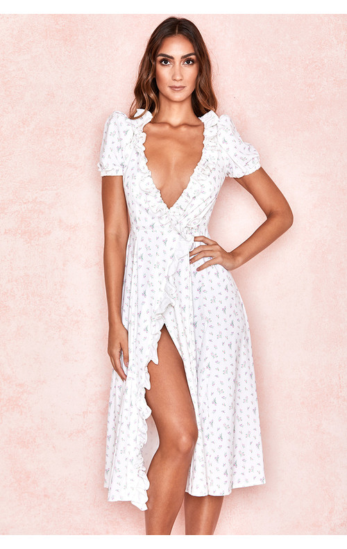 Lina White Floral Wrap Midi Sundress
