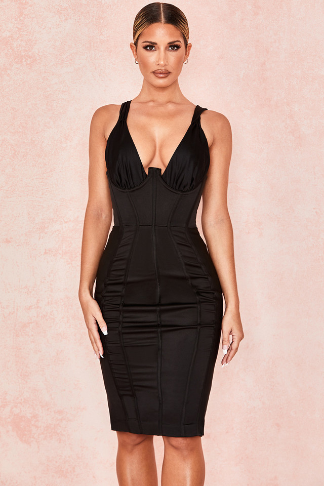 Anastasia Black Satin Corset Dress