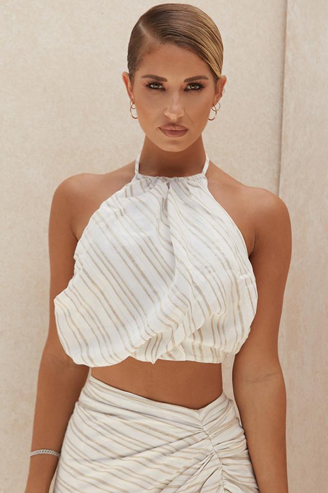 Bette Linen Blend Backless Halter Top