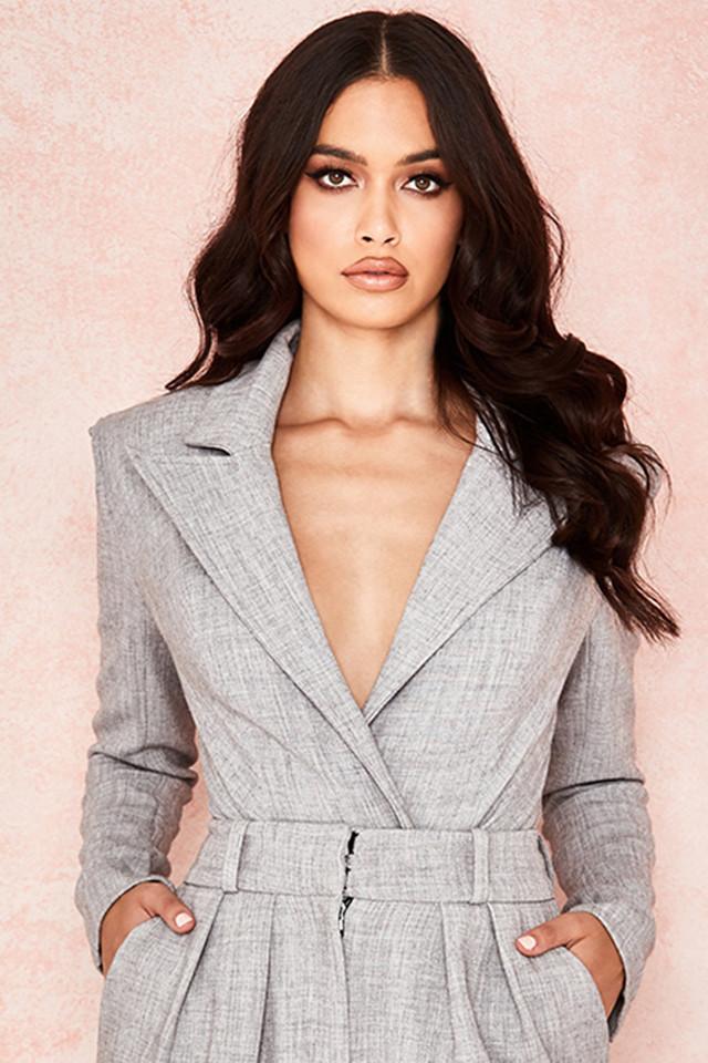 Brisa Grey Suiting Jacket Bodysuit