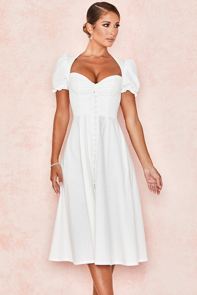 Ellery White Linen Puff Sleeve Midi Sundress
