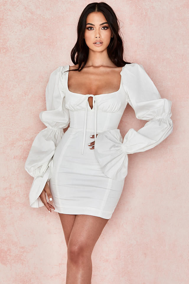 Elsie White Puff Sleeve Corset Dress