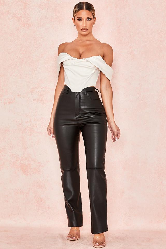 Inaya Black Stretch Vegan Leather Trousers