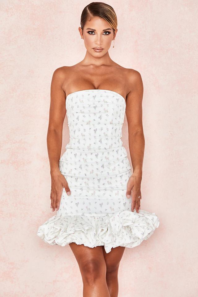 Serafina White Floral Print Strapless Dress