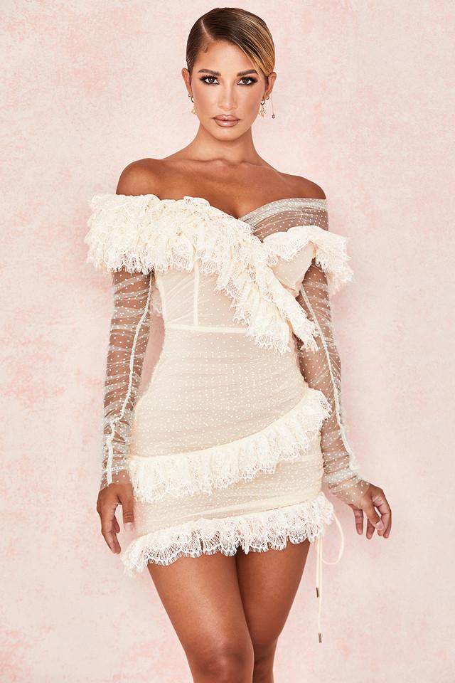 Sorrel Ivory Lace Frill Mini Dress