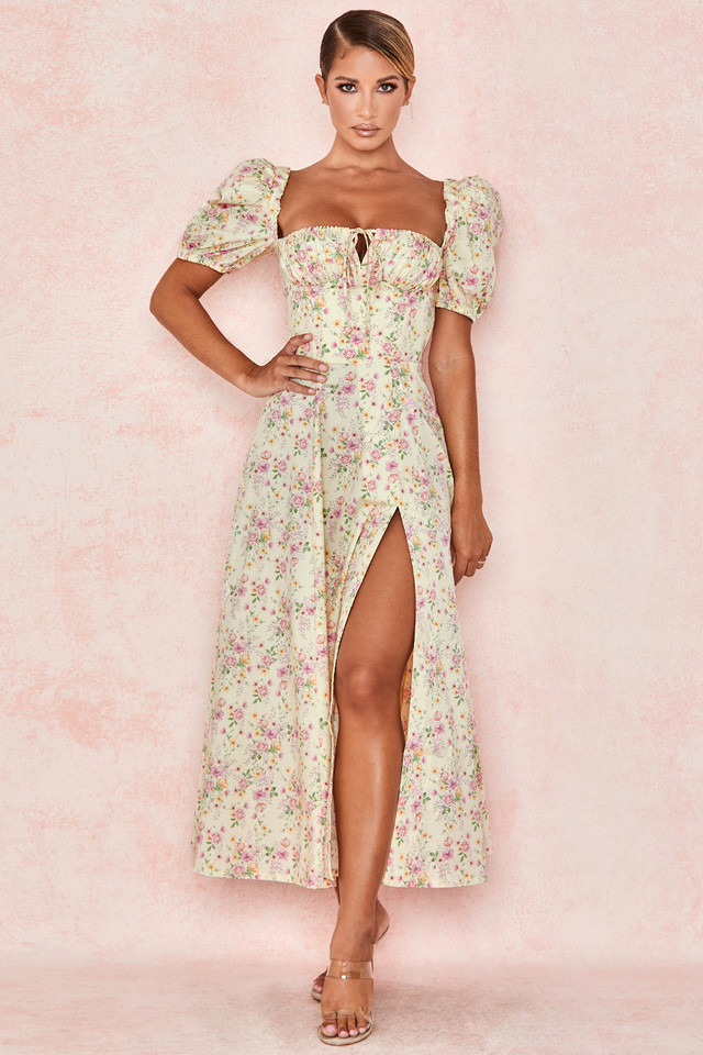 Tallulah Lemon Floral Puff Sleeve Midi Sundress