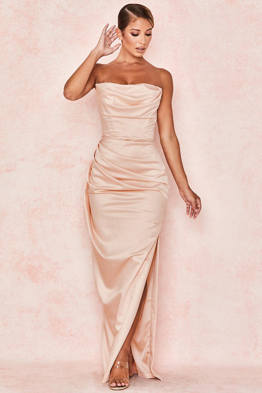 Adrienne Champagne Satin Strapless Gown