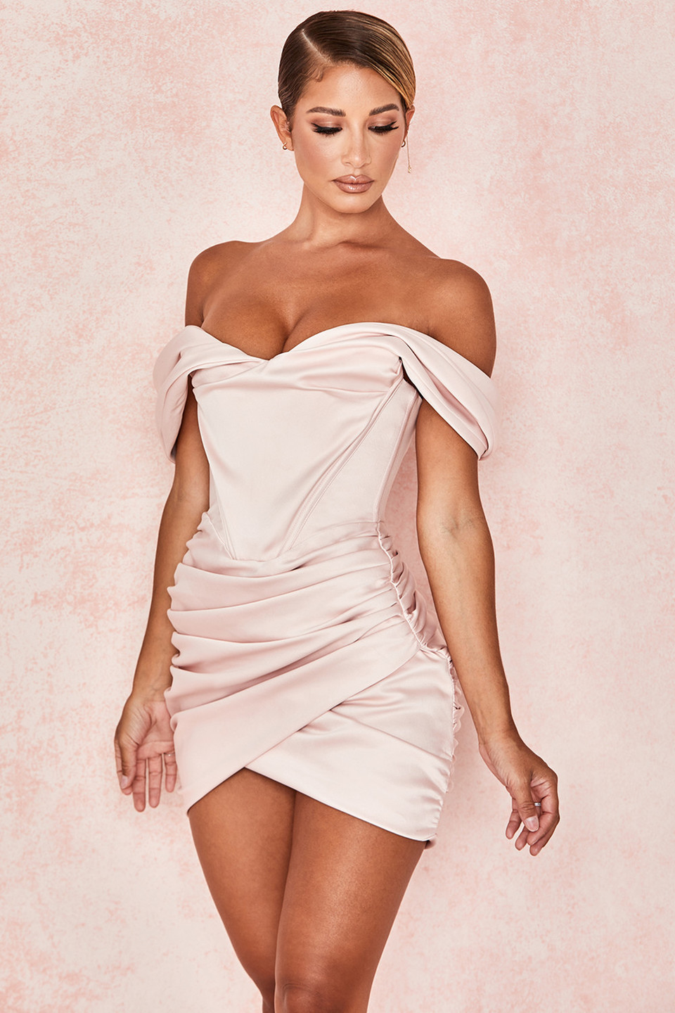 'Coraline' Pink Satin Corset Dress