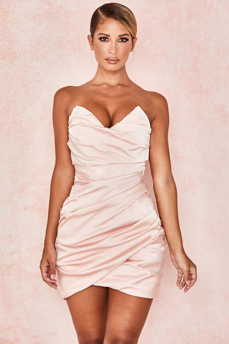 Emanuela Pink Draped Ruched Mini Dress