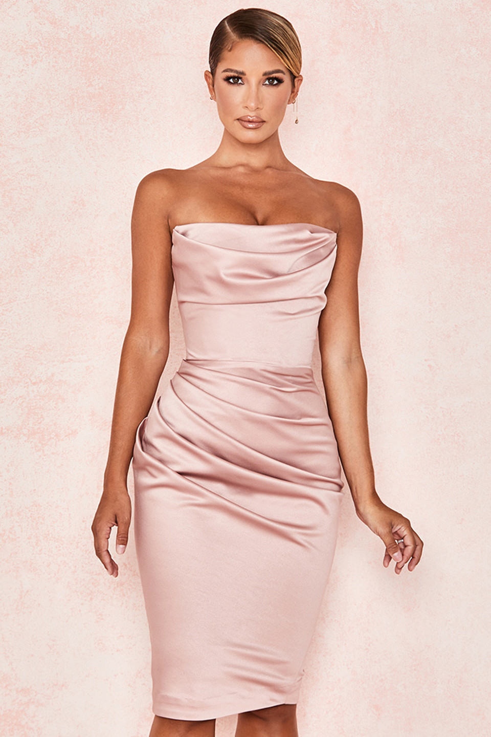 Emilia Blush Satin Strapless Corset Dress