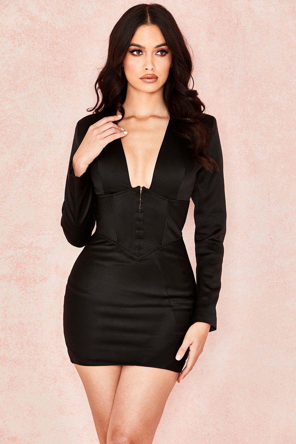 Freya Black Satin Sculpted Corset Dress