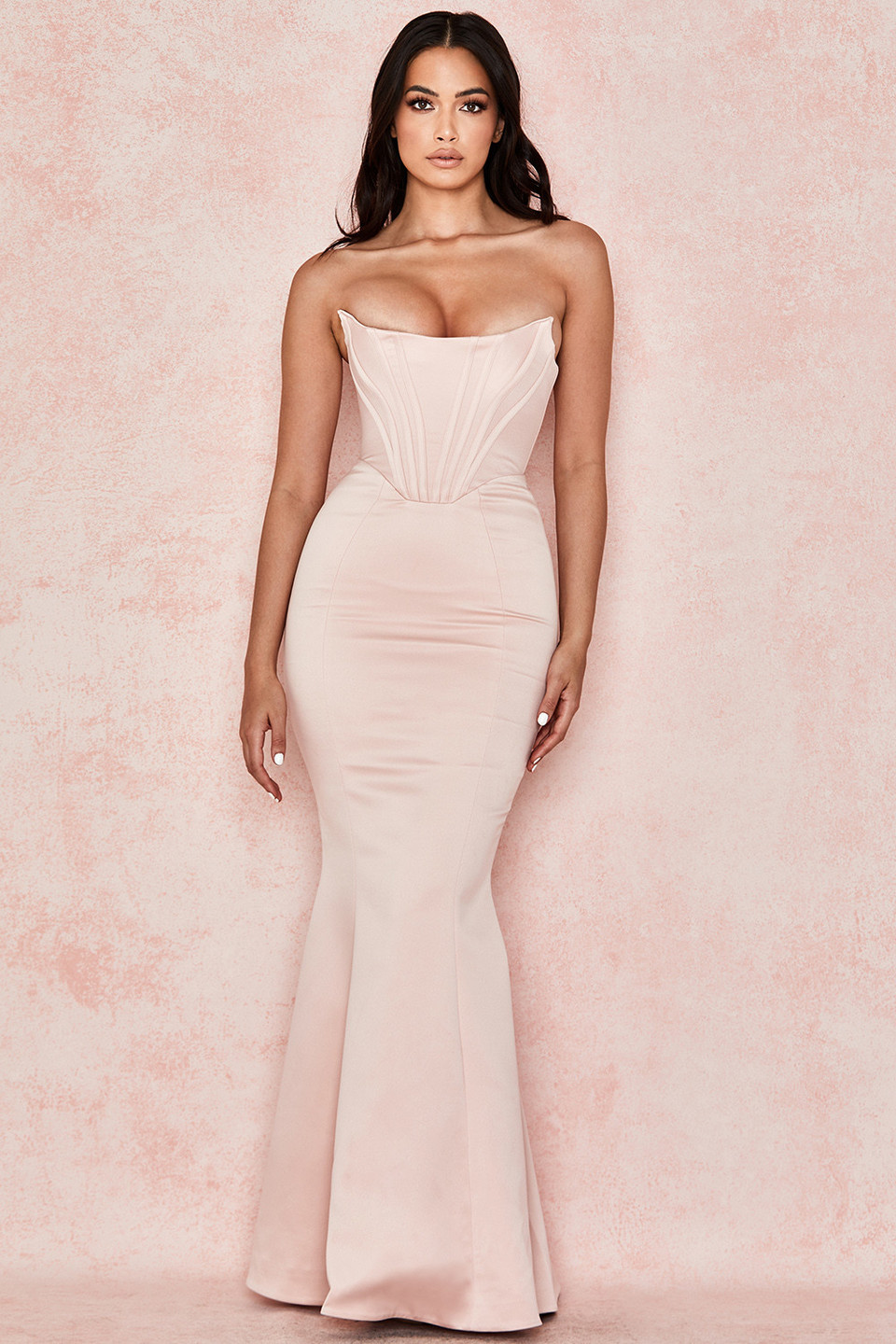 Malika Pale Blush Strapless Corset Gown