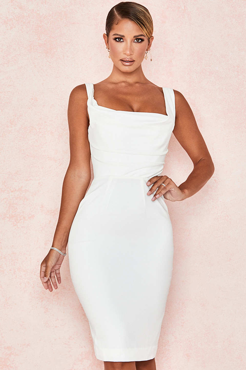Micaela Ivory Draped Corset Dress