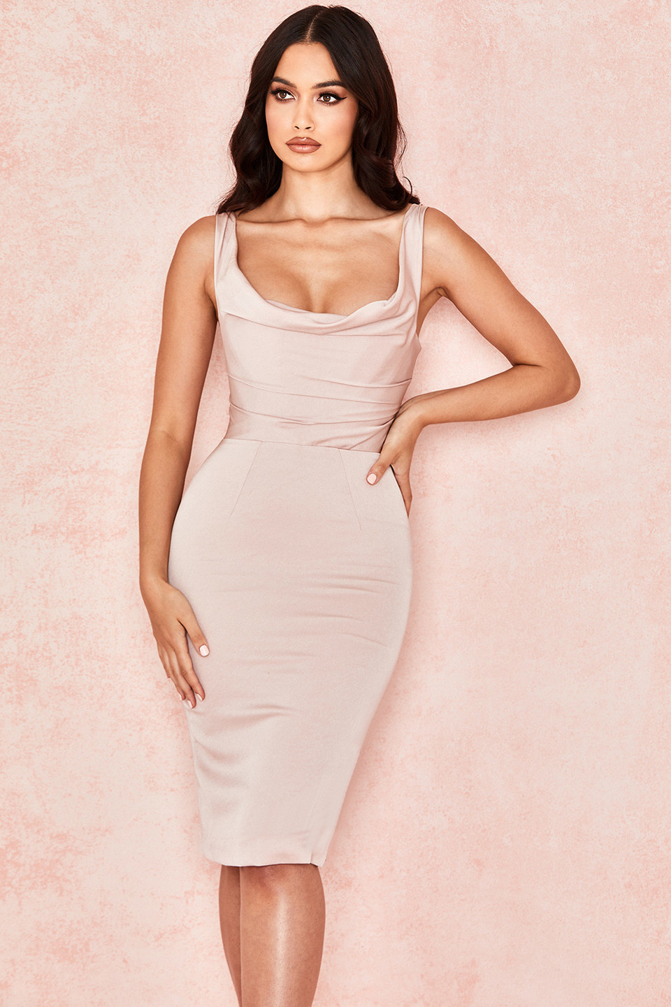 Micaela Blush Draped Corset Dress
