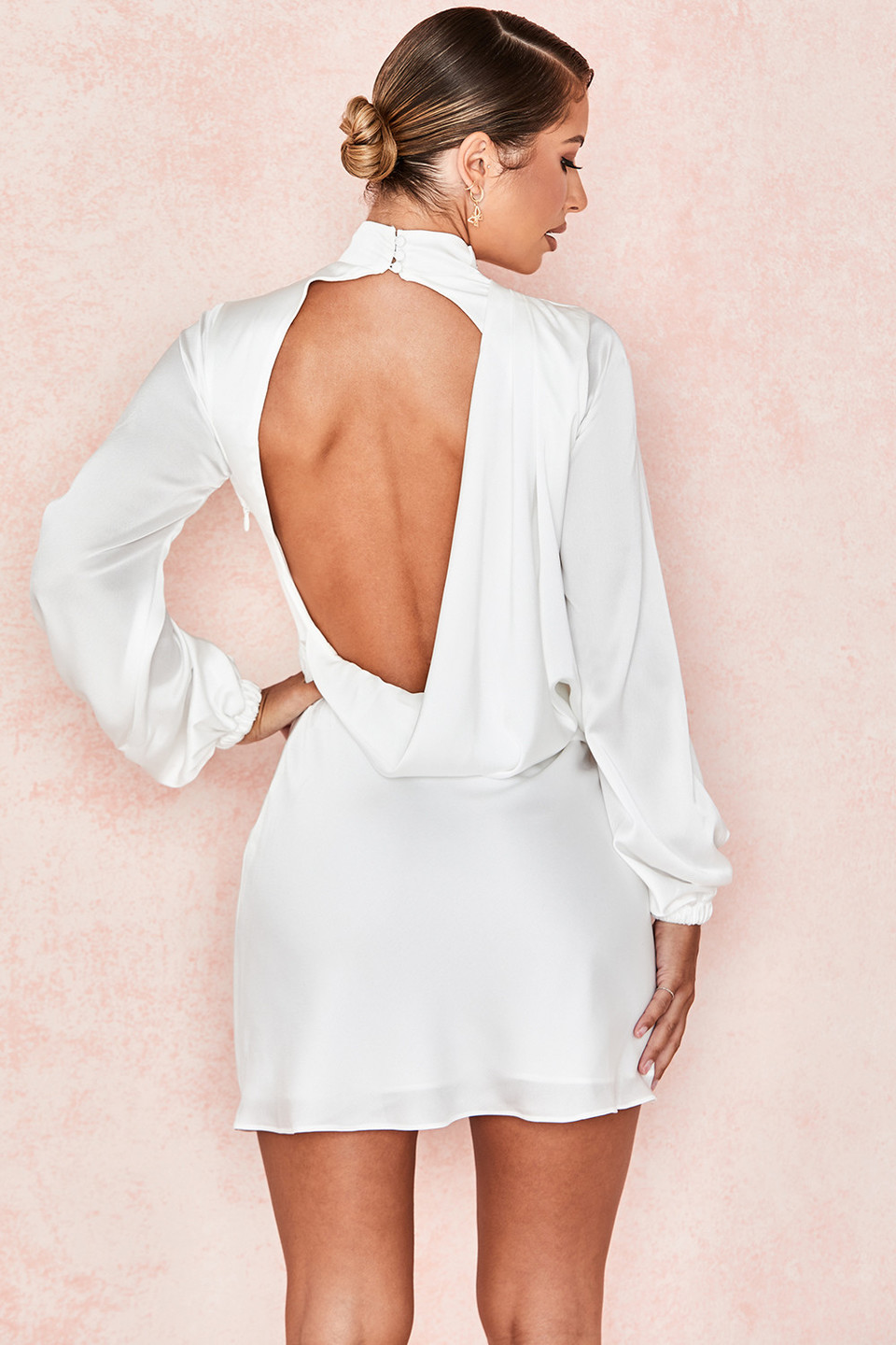 Raye Ivory Backless Draped Satin Mini Dress