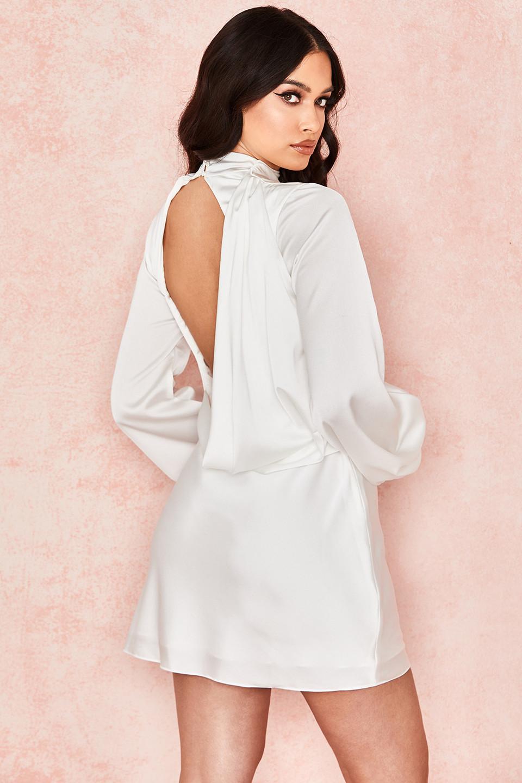 Raye Ivory Backless Draped Satin Mini Dress