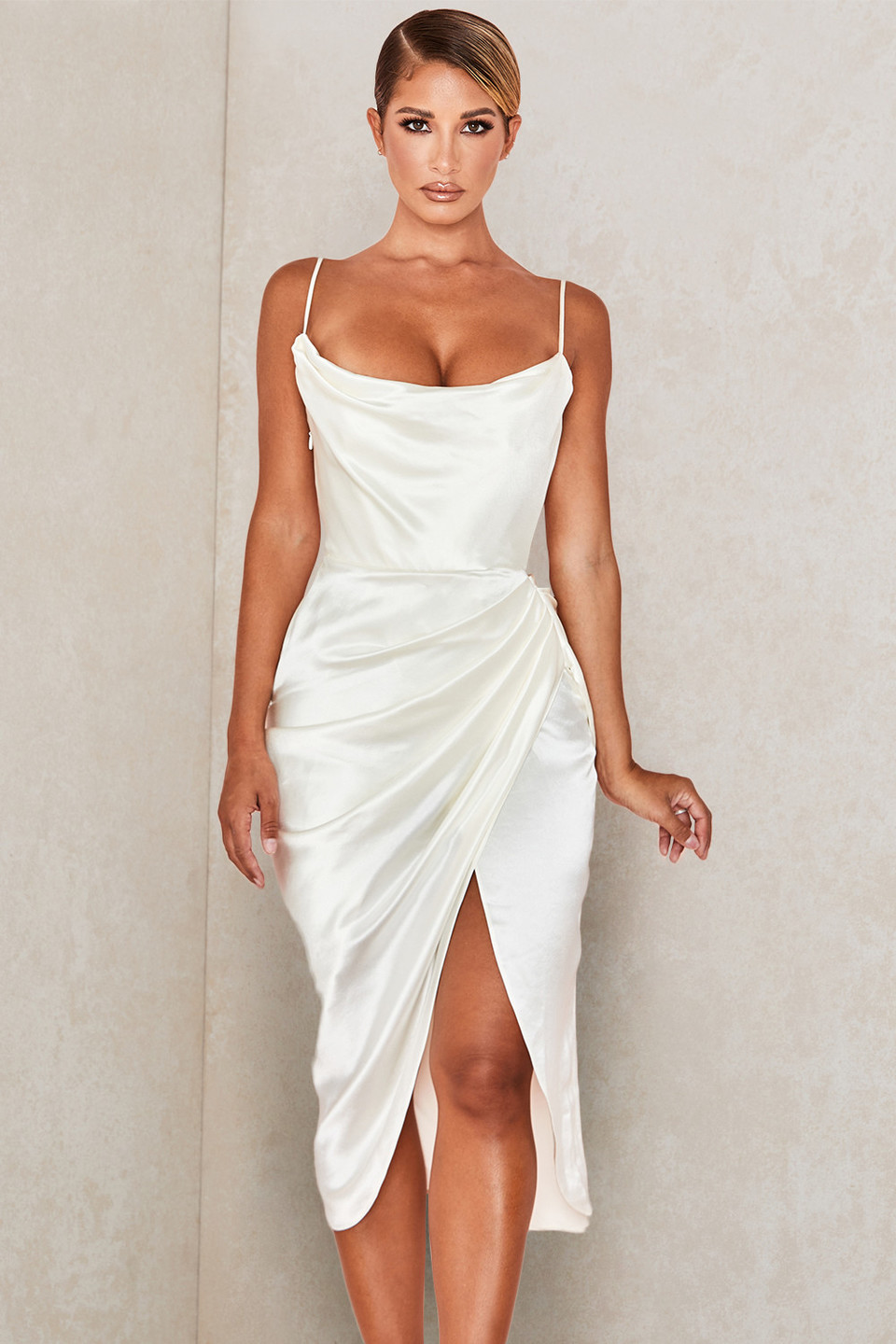 Reva Ivory Satin Balcony Corset Dress