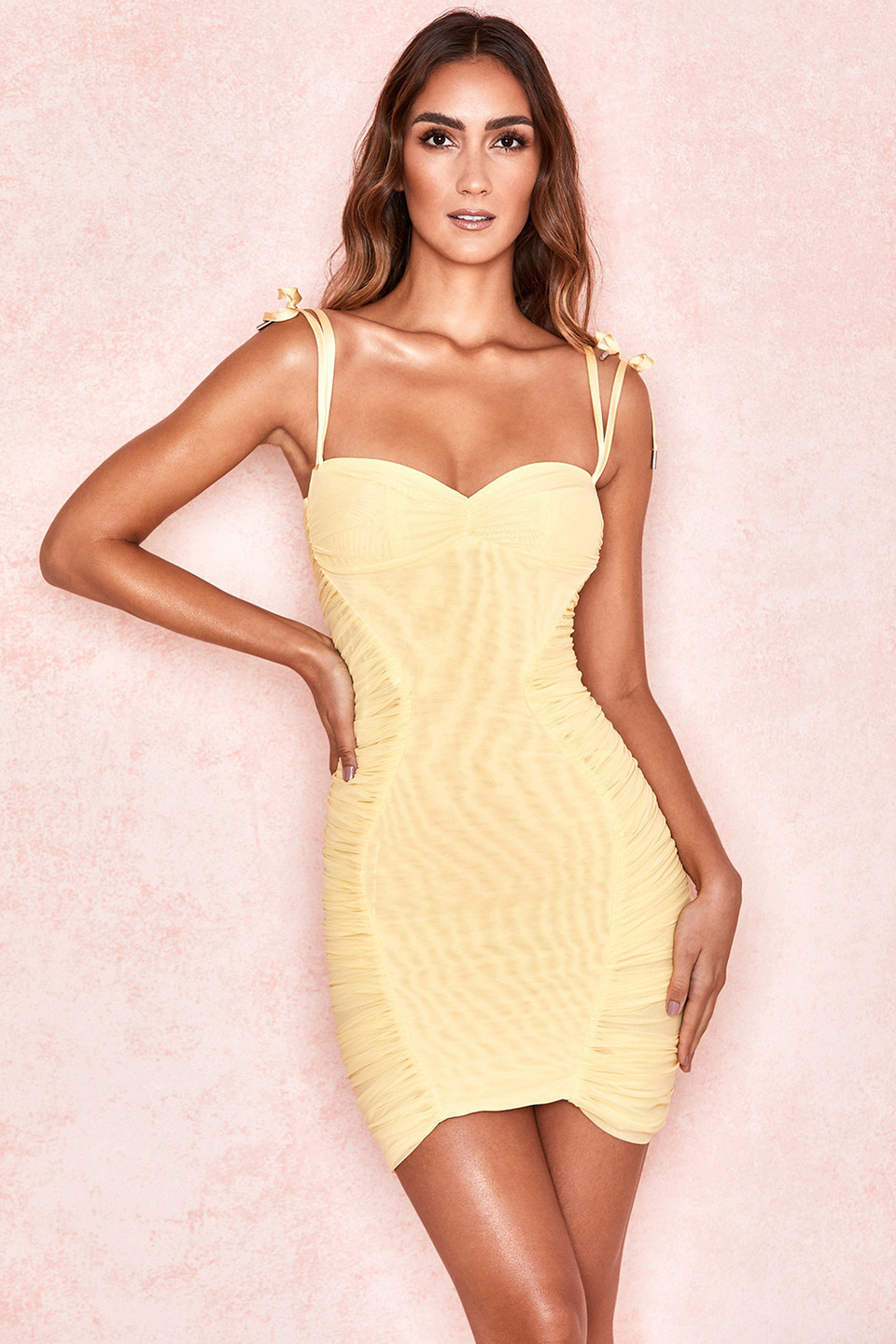 Rosa Lemon Mesh Ruched Mini Dress