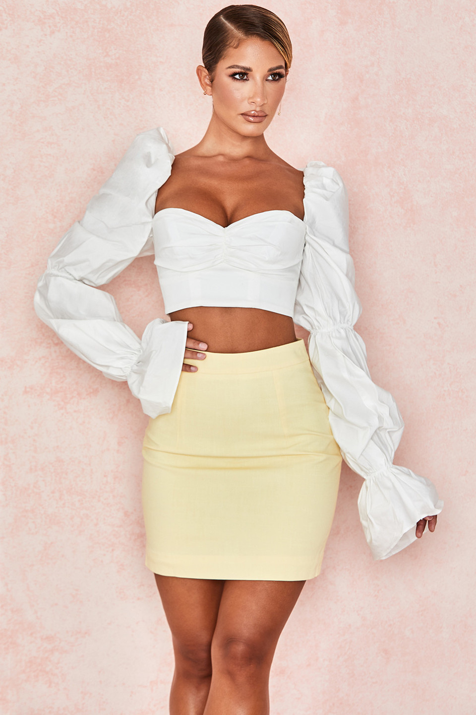 Ilya Lemon Linen-Mix Mini Skirt