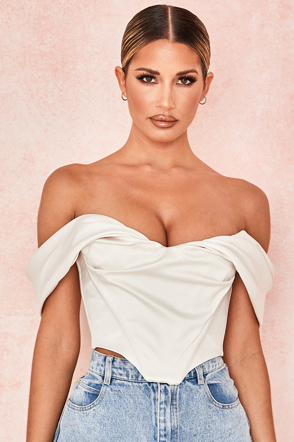 Silva Ivory Satin Draped Shoulder Corset Top