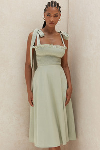 Carmella Sage Green Shirred Midi Sundress