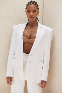 Kasia White Linen Mix Oversized Blazer