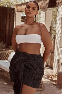 Martha Black Boucle Draped Mini Skirt
