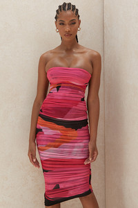 Sasha Multicoloured Strapless Ruched Midi Dress
