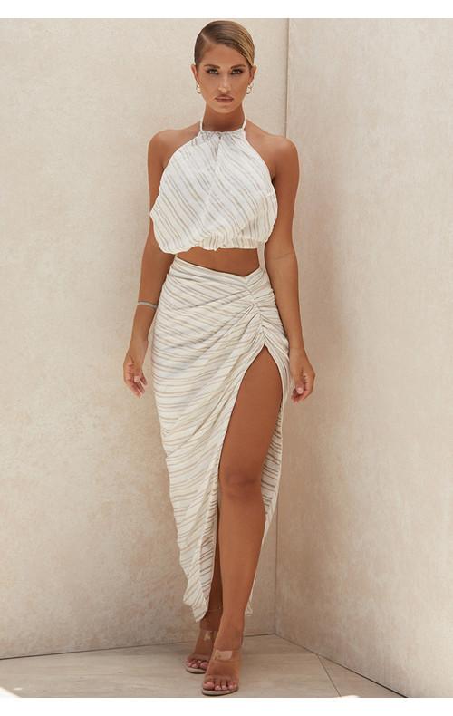 Chryssie Linen Blend Draped Maxi Skirt