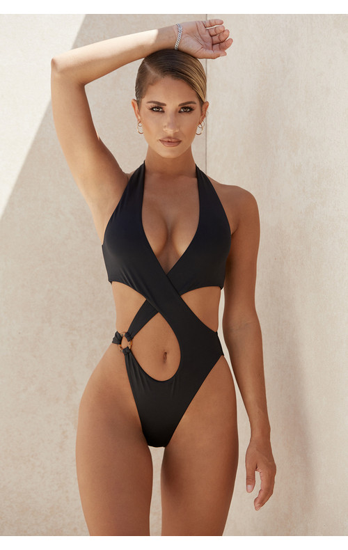 Savannah Black Crossover Halter One Piece Swimsuit