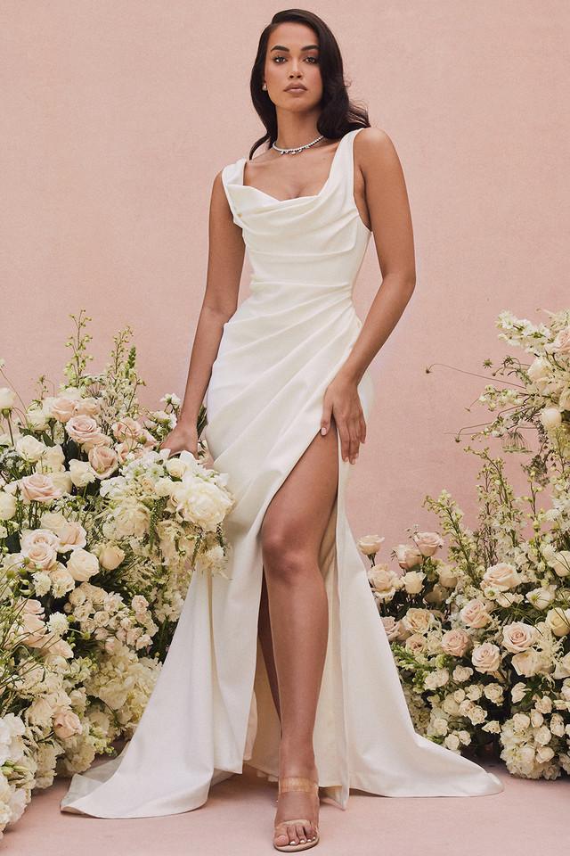 Delphine Ivory Draped Corset Bridal Gown