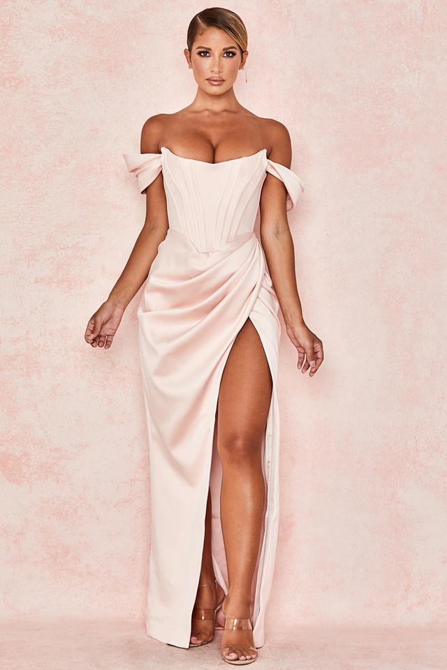 Genevieve Blush Satin Off Shoulder Gown