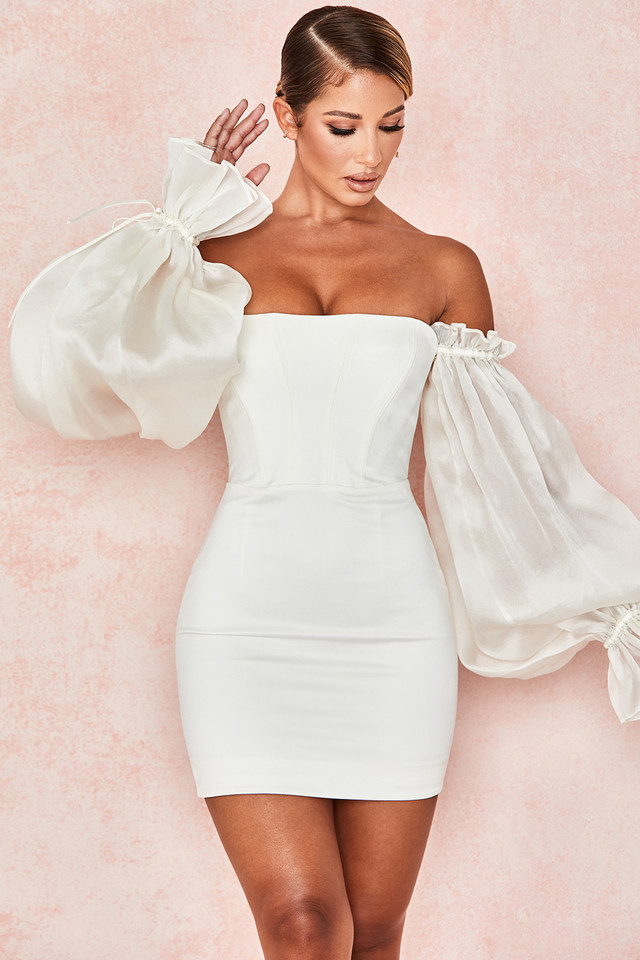 Marisa Ivory Satin Corset Dress