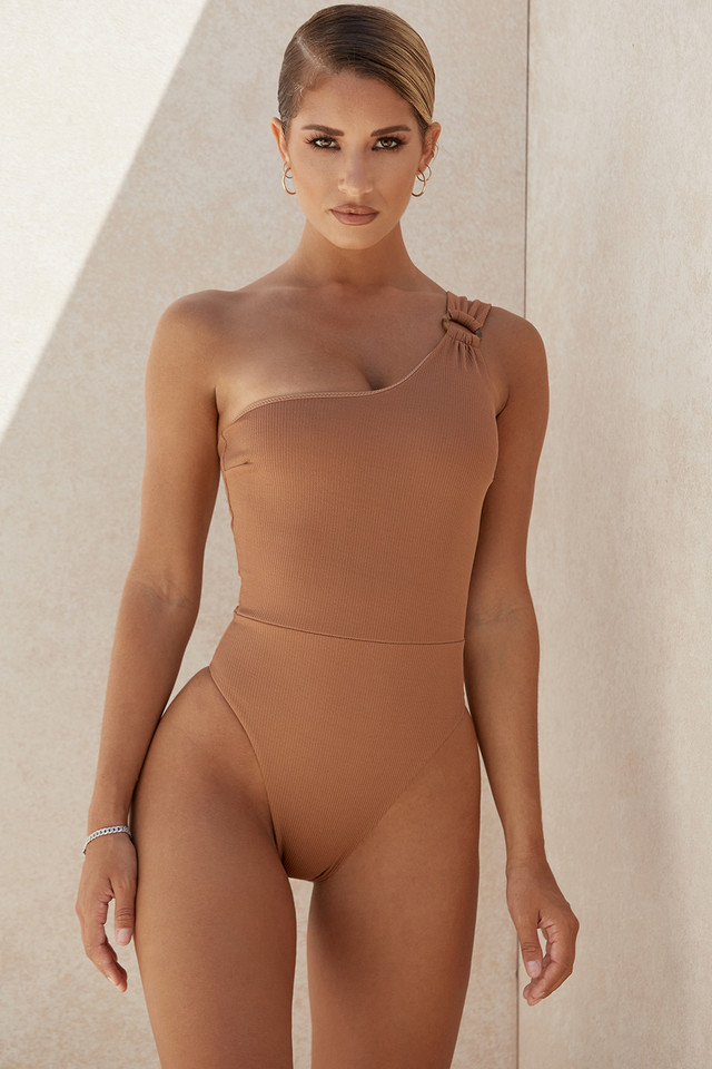 Pacha Tan One Shoulder One Piece Swimsuit