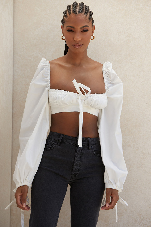 Stella White Balloon Sleeve Corset Top