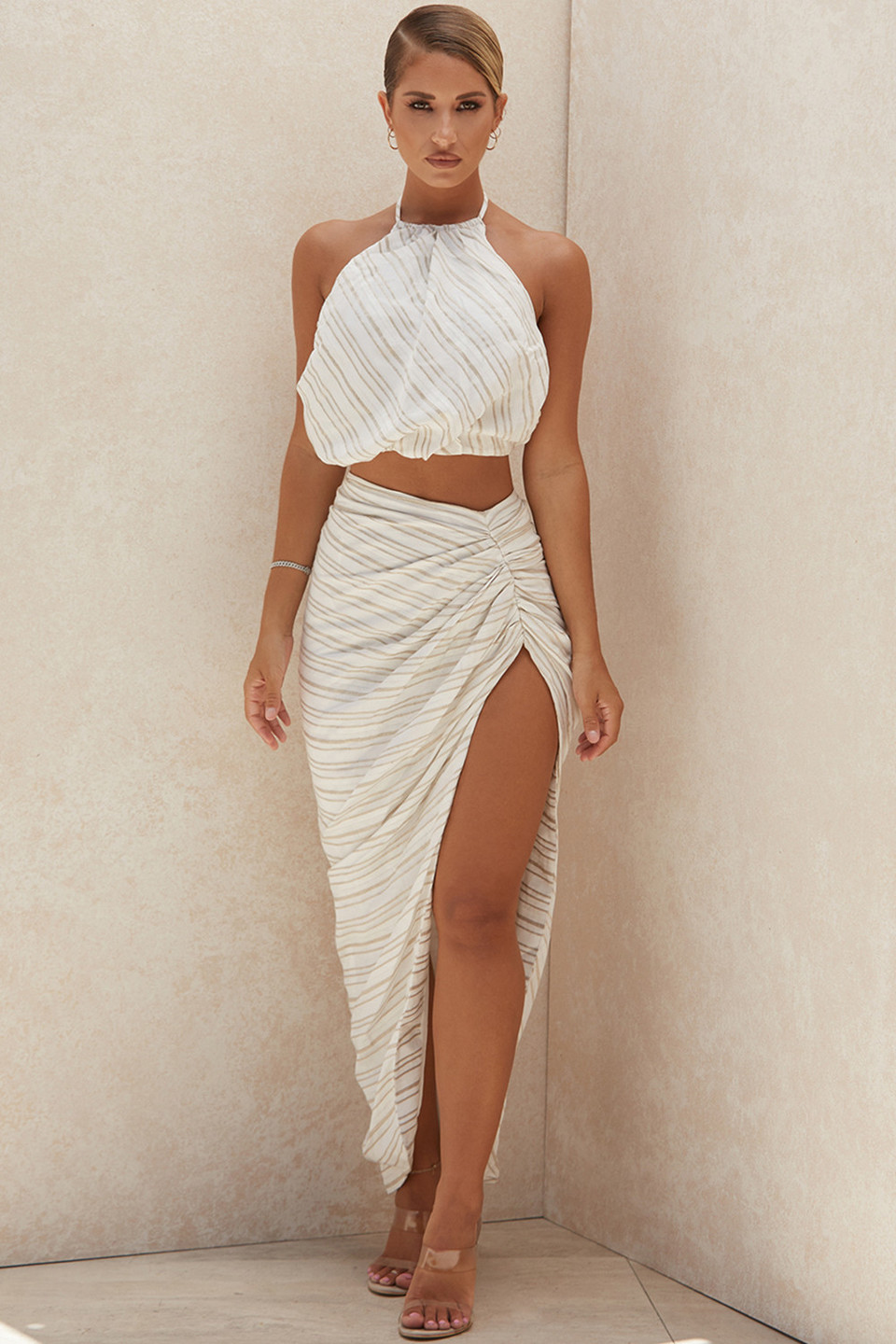 Chryssie Linen Blend Draped Maxi Skirt