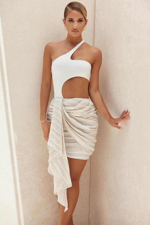 Adette Striped Linen Mix Draped Mini Skirt
