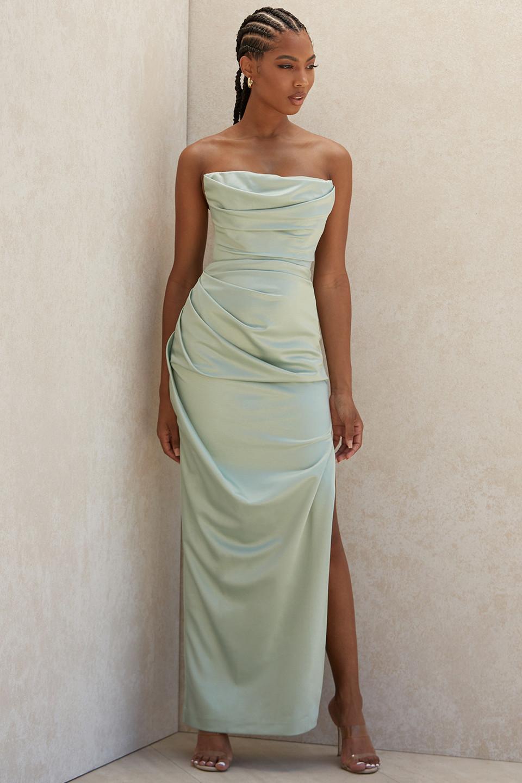 Adrienne Sage Satin Strapless Gown