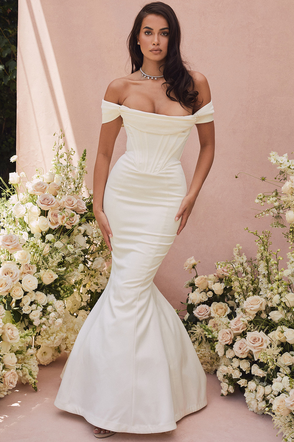 Antoniette Ivory Corset Off Shoulder Bridal Gown