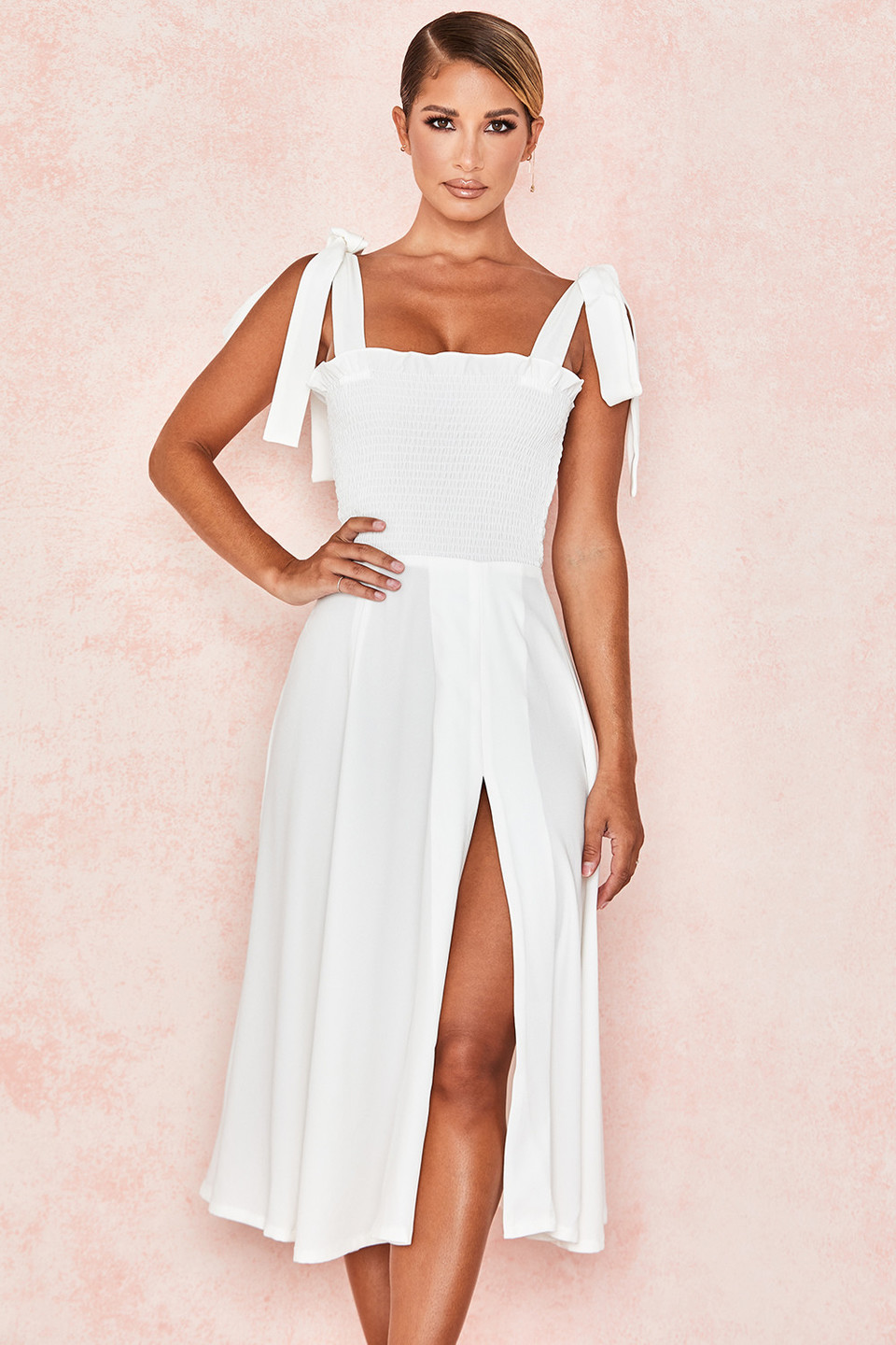 Carmella White Shirred Midi Sundress