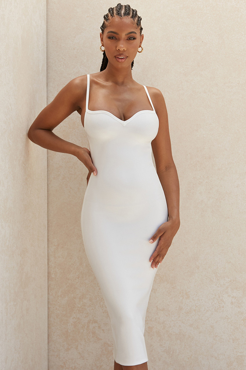 Domenica White Sweetheart Neckline Bandage Dress