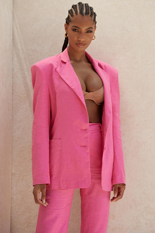 Domina Pink Oversized Linen Blend Blazer