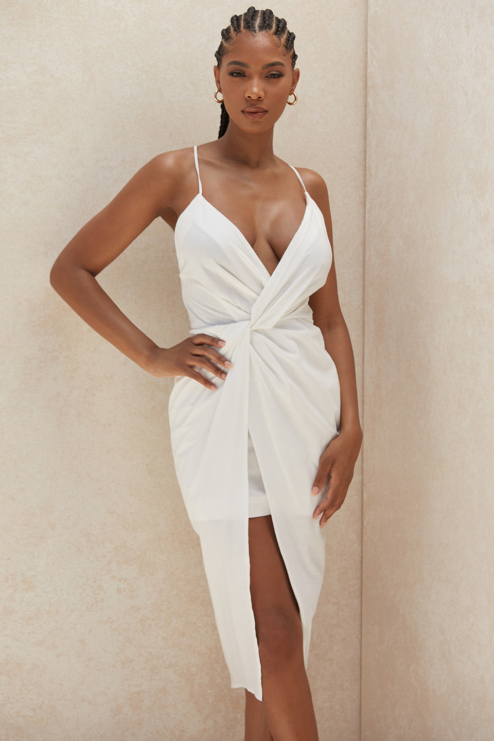 Eivissa White Cotton Cross Back Wrap Midi