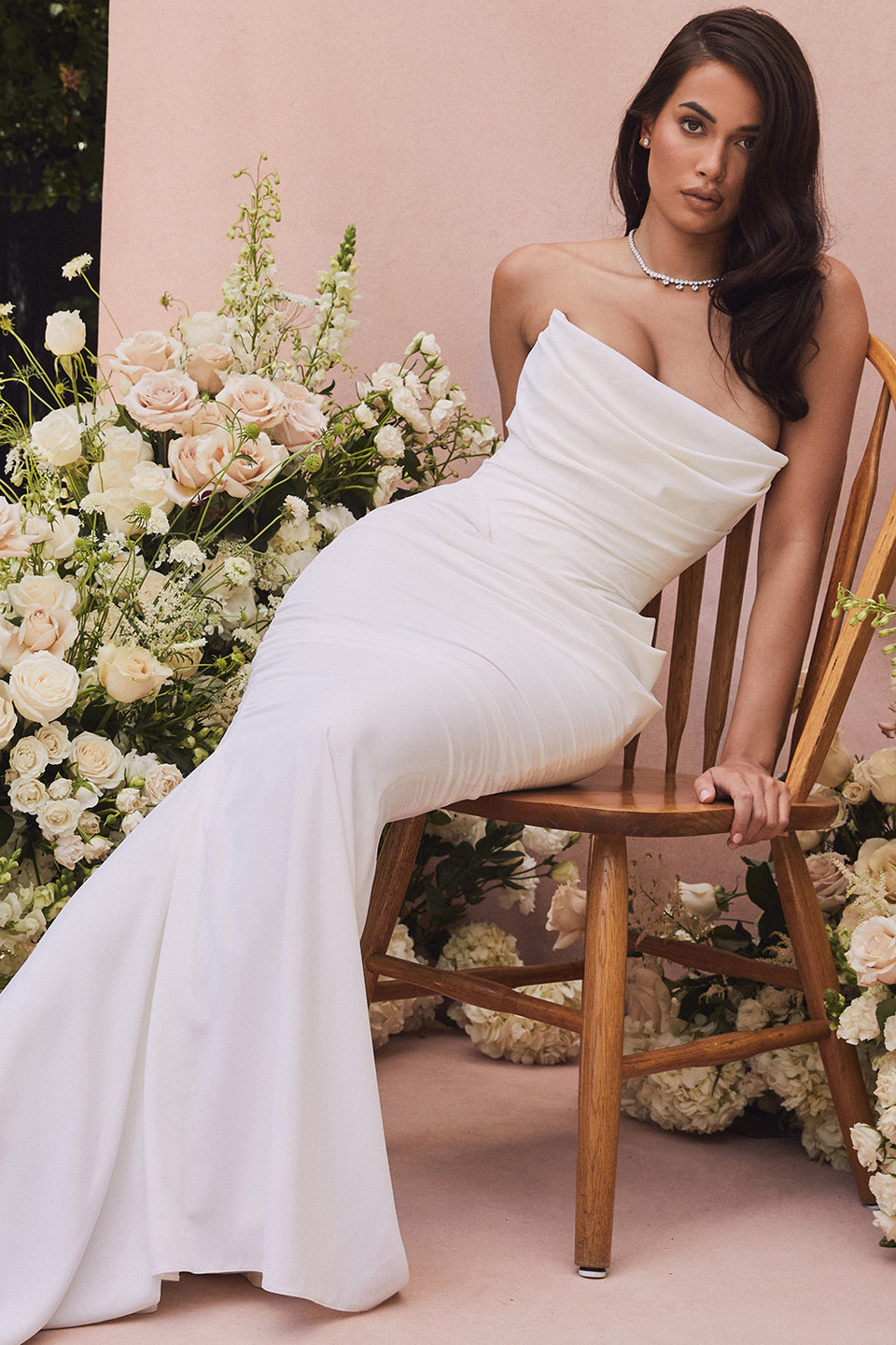 Esmee Ivory Draped Strapless Bridal Gown