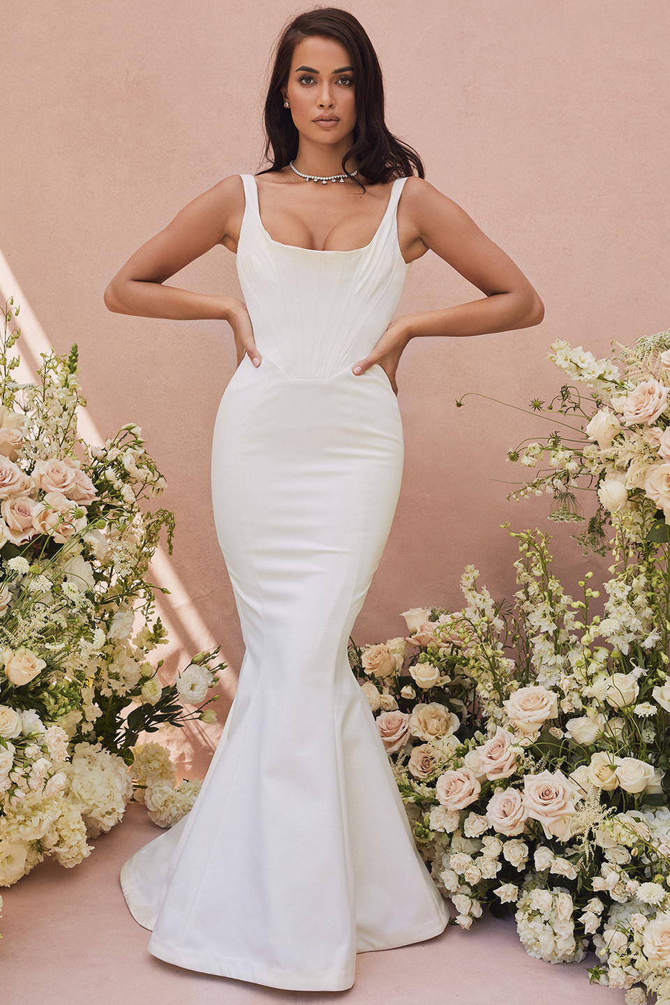 Estelle Ivory Satin Mermaid Bridal Gown