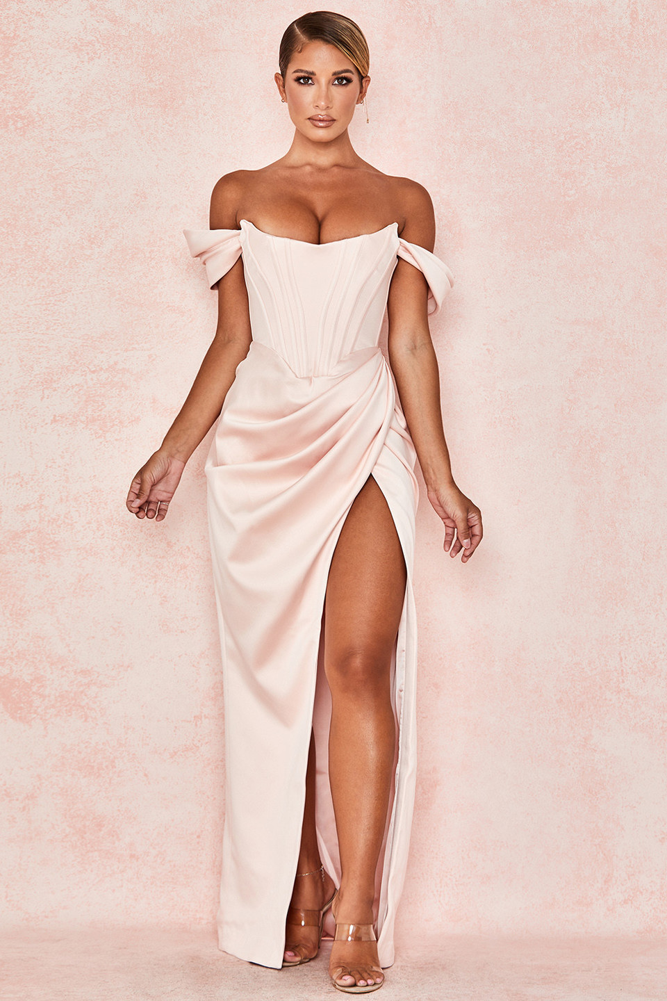 Genevieve Blush Satin Off Shoulder Gown