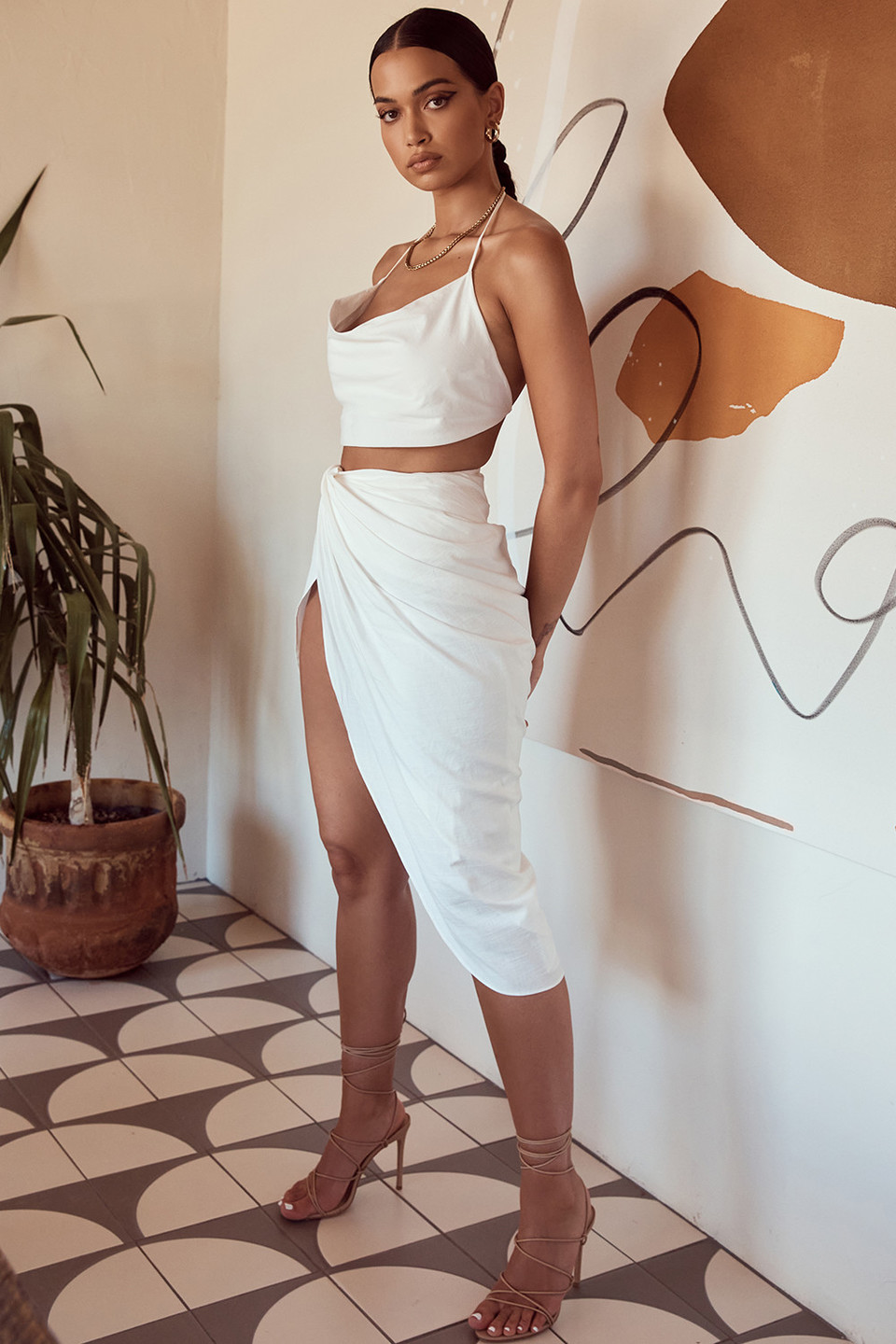 Madeline White Linen Mix Draped Skirt